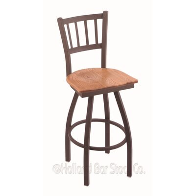 Contessa Swivel Bar Stool Base Finish: Bronze, Upholstery: Medium Oak