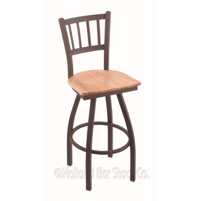 Contessa 30 Swivel Bar Stool Base Finish: Bronze, Upholstery: Natural Oak