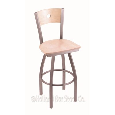 Voltaire 30 Swivel Bar Stool Base Finish: Stainless, Upholstery: Natural Maple