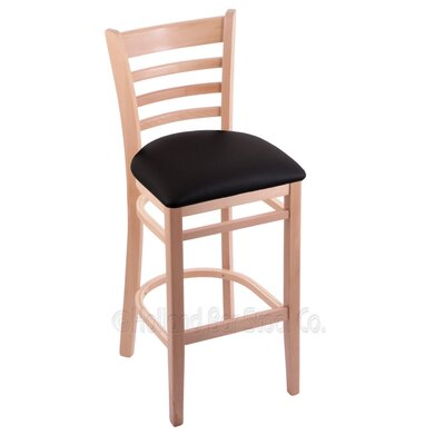 25 Bar Stool Finish: Natural, Upholstery: Black Vinyl