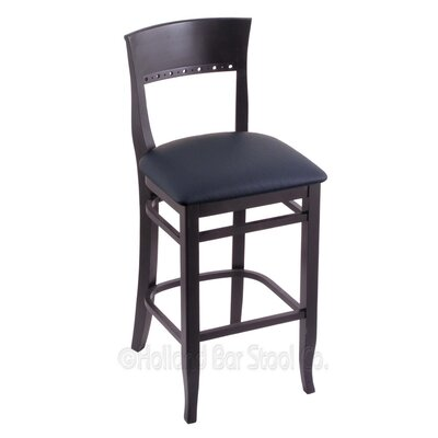 25 Bar Stool Finish: Black, Upholstery: Allante Dark Blue