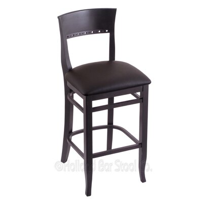 30 Bar Stool Finish: Black, Upholstery: Allante Espresso