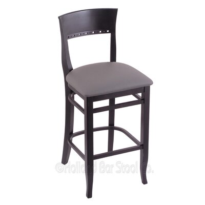25 Bar Stool Finish: Black, Upholstery: Allante Medium Grey