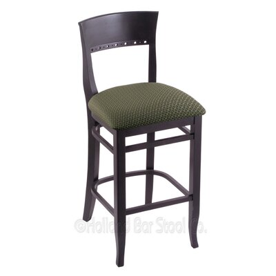 25 Bar Stool Finish: Black, Upholstery: Axis Grove