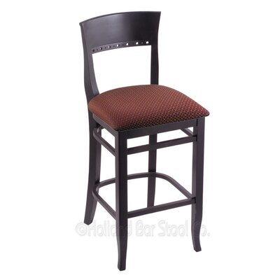 30 Bar Stool Finish: Black, Upholstery: Axis Paprika