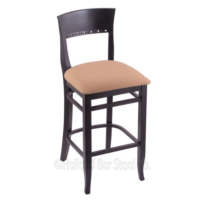 30 Bar Stool Finish: Black, Upholstery: Axis Summer