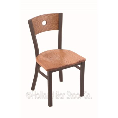 Voltaire Side Chair Base Finish: Bronze, Upholstery: Medium Oak