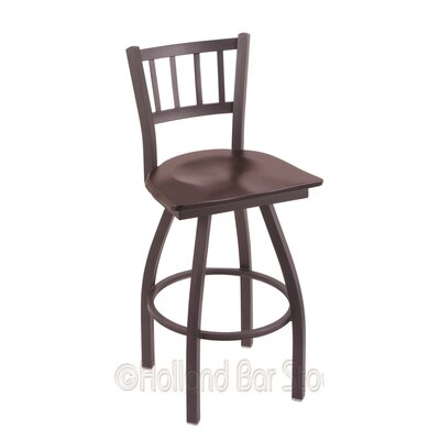 Contessa 36 Swivel Bar Stool Upholstery: Dark Cherry Maple, Base Finish: Pewter