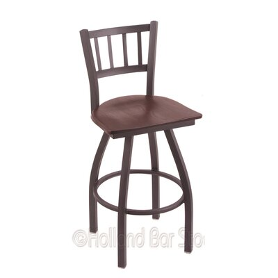 Contessa 25 Swivel Bar Stool Base Finish: Pewter, Upholstery: Dark Cherry Oak