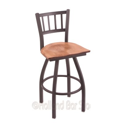 Contessa 30 inch Swivel Bar Stool Upholstery: Medium Maple, Base Finish: Pewter