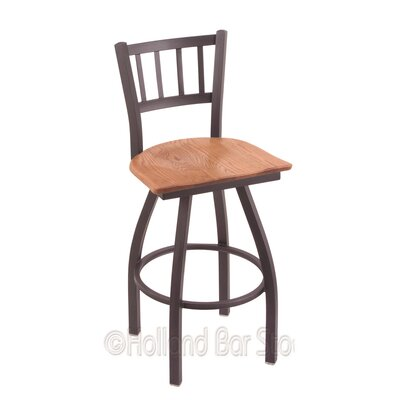 Contessa 25 inch Swivel Bar Stool Upholstery: Medium Oak, Base Finish: Pewter