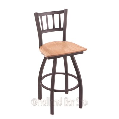 Contessa 25 Swivel Bar Stool Upholstery: Natural Oak, Base Finish: Pewter