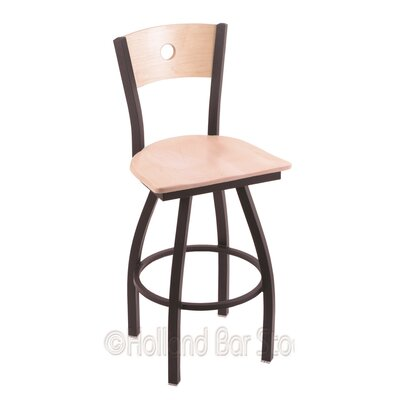 Voltaire 36 Swivel Bar Stool Base Finish: Black Wrinkle, Upholstery: Natural Maple
