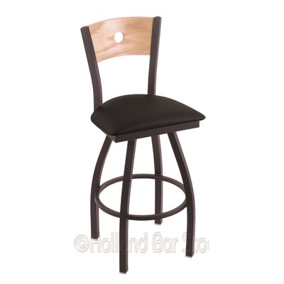 "Holland Bar Stool Voltaire 36"" Swivel Bar Stool with Cushion - Back Finish: Natural Oak, Base Finish: Black Wrinkle, Seat Color: Black Vinyl ..."