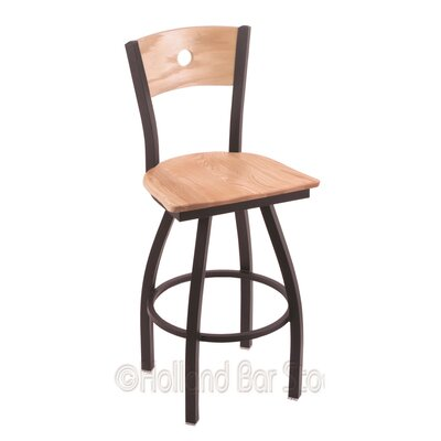 Voltaire 30 Swivel Bar Stool Base Finish: Black Wrinkle, Upholstery: Natural Oak