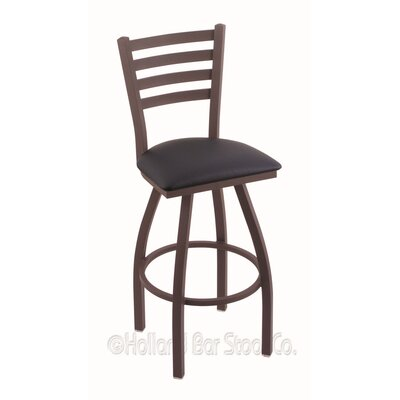 Jackie 36 Swivel Bar Stool Finish: Bronze, Upholstery: Allante Dark Blue