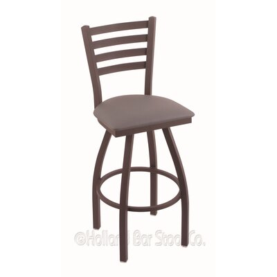 Jackie 36 Swivel Bar Stool Finish: Bronze, Upholstery: Allante Medium Grey