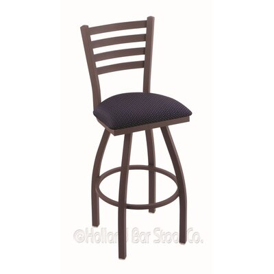 Jackie 30 Swivel Bar Stool Finish: Bronze, Upholstery: Axis Denim