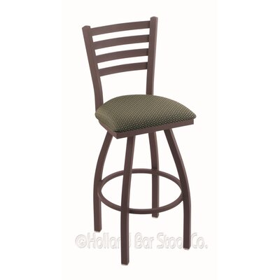 Jackie 30 Swivel Bar Stool Finish: Bronze, Upholstery: Axis Grove
