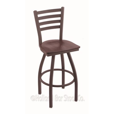Jackie 36 Swivel Bar Stool Base Finish: Bronze, Upholstery: Dark Cherry Oak