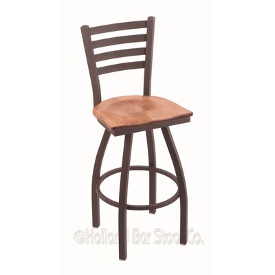 Jackie 25 Swivel Bar Stool Base Finish: Bronze, Upholstery: Medium Maple