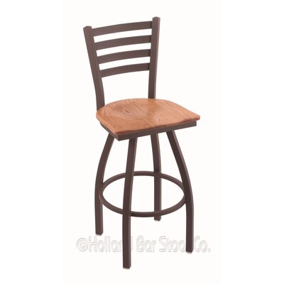 Jackie 30 Swivel Bar Stool Upholstery: Medium Oak, Base Finish: Bronze