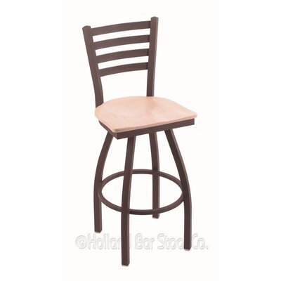 Jackie 36 Swivel Bar Stool Base Finish: Bronze, Upholstery: Natural Maple