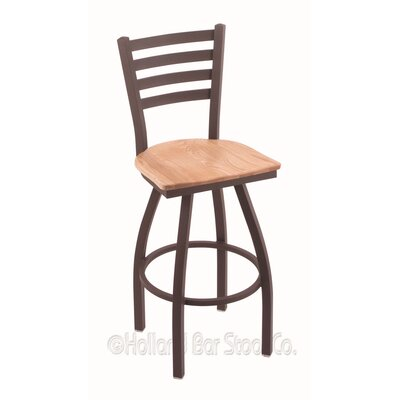 Jackie 30 Swivel Bar Stool Base Finish: Bronze, Upholstery: Natural Oak