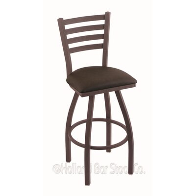 Jackie 36 Swivel Bar Stool Finish: Bronze, Upholstery: Rein Coffee
