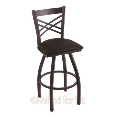 Catalina 36 Swivel Bar Stool Finish: Black Wrinkle, Upholstery: Black Vinyl