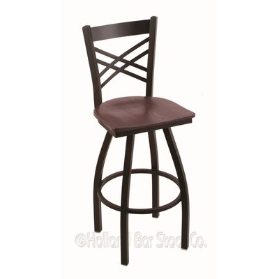 Catalina 30 Swivel Bar Stool Base Finish: Black Wrinkle, Upholstery: Dark Cherry Oak