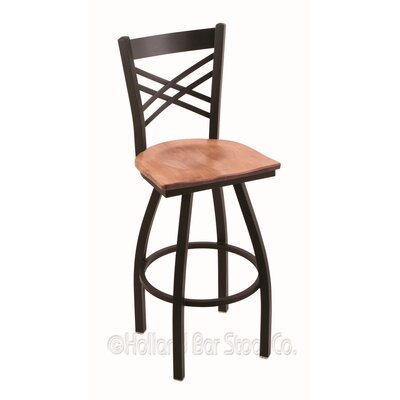 Catalina 30 Swivel Bar Stool Base Finish: Black Wrinkle, Upholstery: Medium Maple