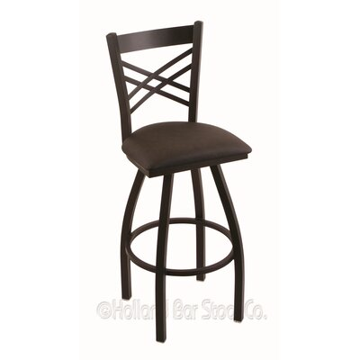 Catalina 36 Swivel Bar Stool Finish: Black Wrinkle, Upholstery: Rein Coffee