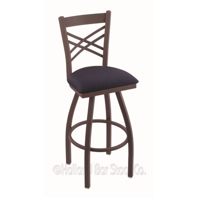 Catalina 30 inch Swivel Bar Stool Upholstery: Axis Denim, Finish: Bronze