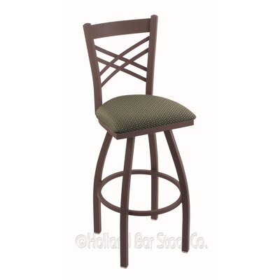 Catalina 30 Swivel Bar Stool Finish: Bronze, Upholstery: Axis Grove