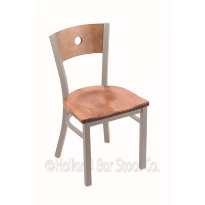 Voltaire Side Chair Base Finish: Anodized Nickel, Upholstery: Medium Maple