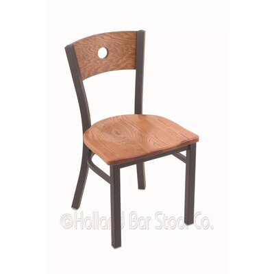 Voltaire Solid Wood Dining Chair Base Finish: Pewter, Upholstery: Medium Oak