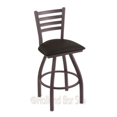 Jackie 30 Swivel Bar Stool Finish: Pewter, Upholstery: Black Vinyl