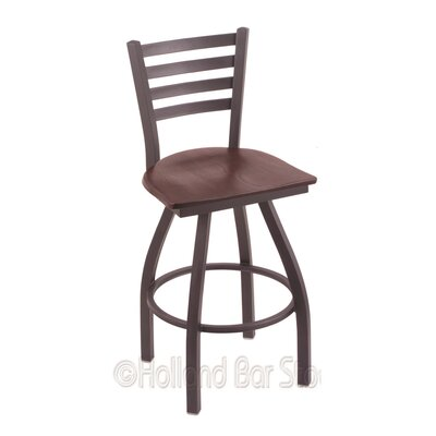 Jackie 25 Swivel Bar Stool Base Finish: Pewter, Upholstery: Dark Cherry Oak