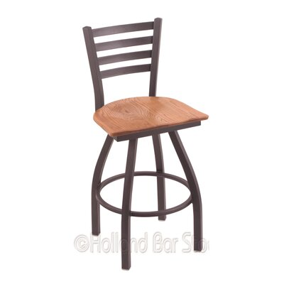 Jackie 36 Swivel Bar Stool Base Finish: Pewter, Upholstery: Medium Oak