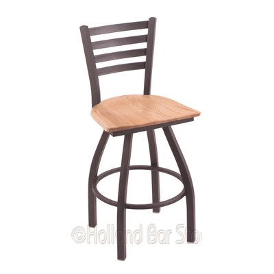 Jackie 30 inch Swivel Bar Stool Base Finish: Pewter, Upholstery: Natural Oak