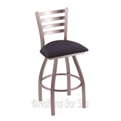 Jackie 36 inch Swivel Bar Stool Upholstery: Axis Denim, Finish: Stainless