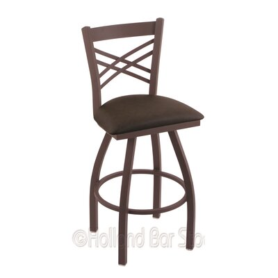 Catalina 25 Swivel Bar Stool Finish: Bronze, Upholstery: Rein Coffee