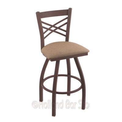 Catalina 25 Swivel Bar Stool Finish: Bronze, Upholstery: Rein Thatch