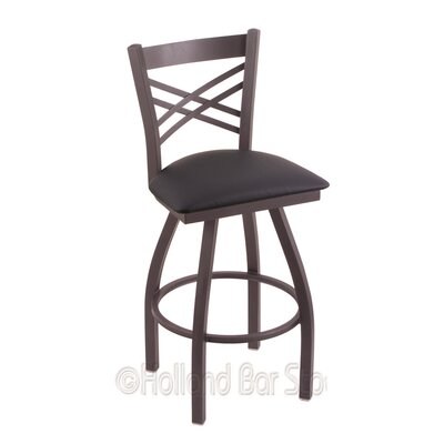 Catalina 25 Swivel Bar Stool Finish: Pewter, Upholstery: Allante Dark Blue