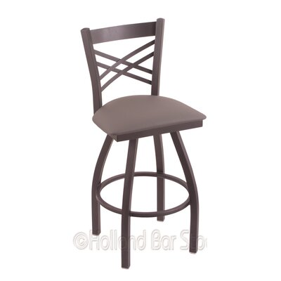 Catalina 25 Swivel Bar Stool Finish: Pewter, Upholstery: Allante Medium Grey