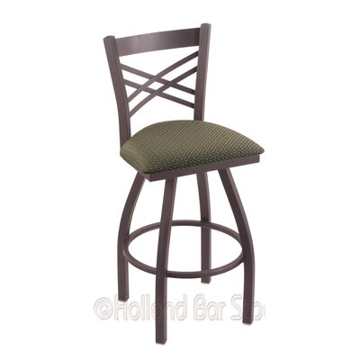 Catalina 36 inch Swivel Bar Stool Upholstery: Axis Grove, Finish: Pewter