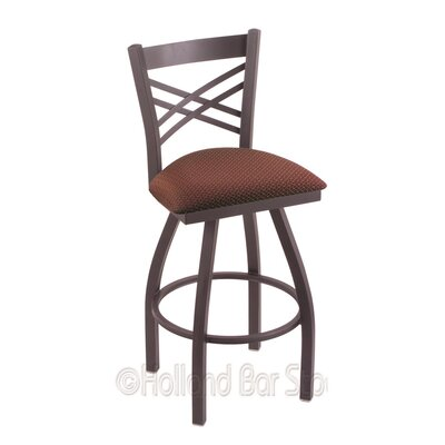 Catalina 25 Swivel Bar Stool Finish: Pewter, Upholstery: Axis Paprika