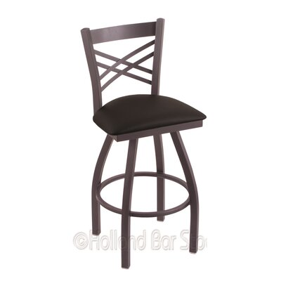 Catalina 25 Swivel Bar Stool Finish: Pewter, Upholstery: Black Vinyl