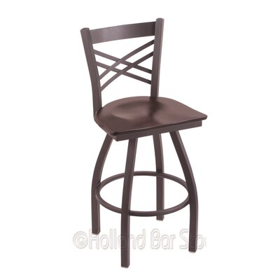 "Image of Catalina 25"" Swivel Bar Stool Base Finish: Pewter, Upholstery: Dark Cherry Maple"